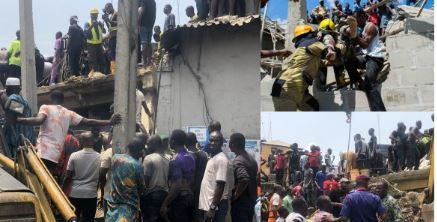 OMG!! Woman Reportedly Loses 5 Children In Lagos School Building Collapse (Photos)
