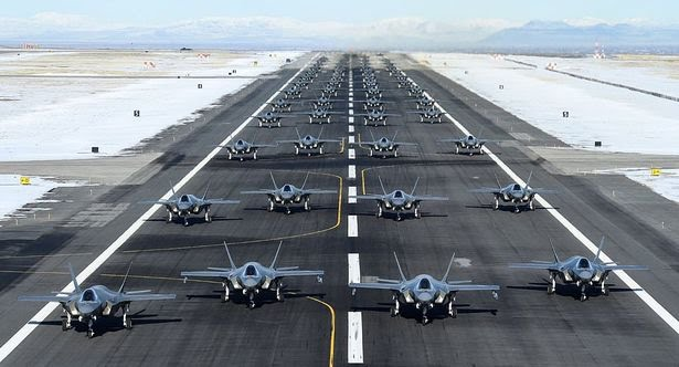 US Air Force send warning to Iran as 52 stealth fighters take off in single wave