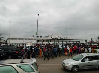 [PHOTOS]How youths stopped pro-Oshiomhole members-elect inauguration, invasion of Edo Assembly