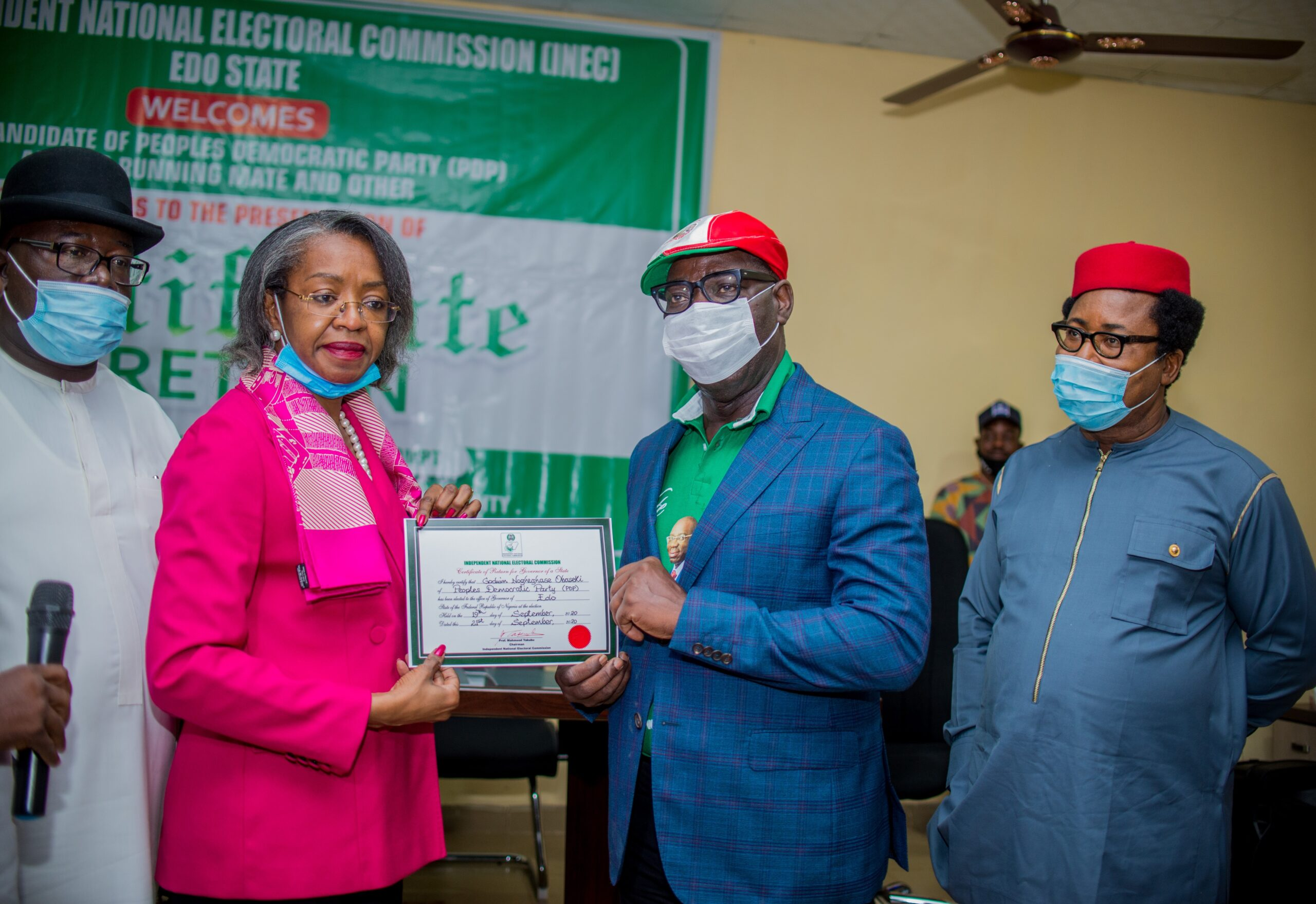 Obaseki receives Certificate of Return, hails Buhari as father of Nigerian democracy